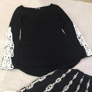 Finejo Black flair waist & embroidered sleeve top